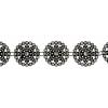 Plastic Trim Black with crystals 28mm Round